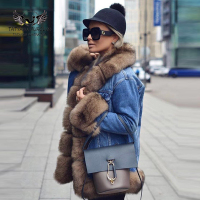 Tatyana Furclub Denim Parka Real Fur Coat Winter Jacket Women Real Natural Fox Fur Coat Thick Warm Fur Parka Real Fur Jacket