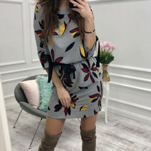 2018 Women Casual Floral Printed Dress Women Sweet Bow O-neck Mini Dresses Fashion Autumn Party Dress Beach Casual Dresses(China)