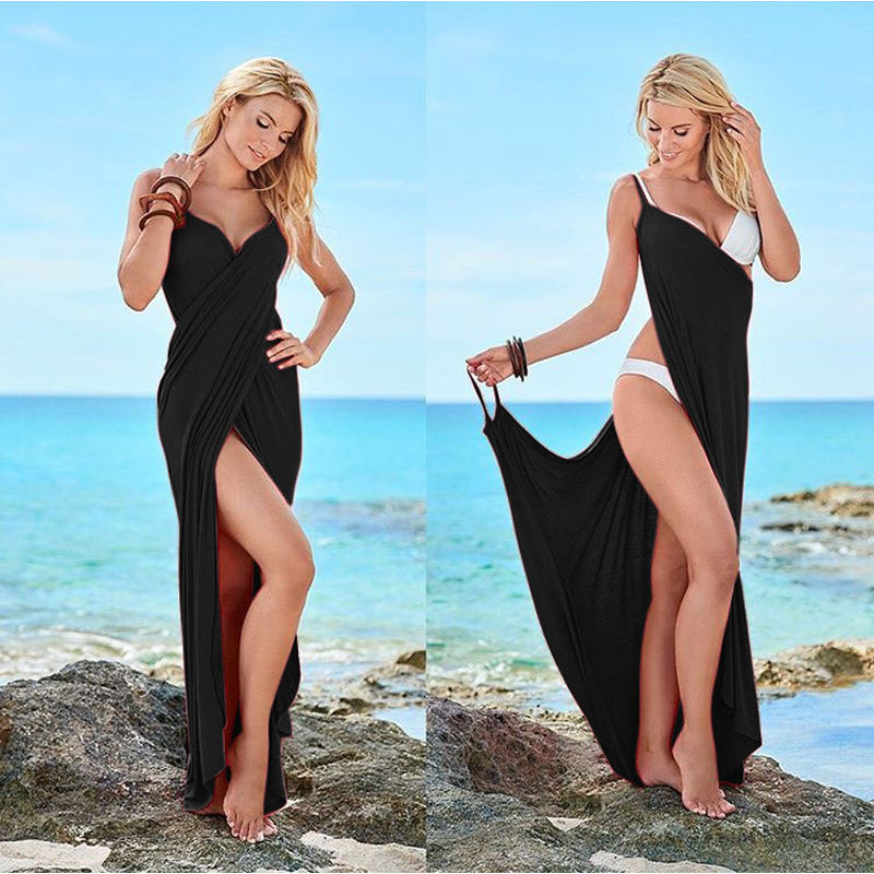 Women Beach Dress Wrap Open-Back Swimwear Summer Cover-Ups Sexy V-neck Beach Wear Bikini Cover-up Skirt Scarf Shawl Towel T0084(China)