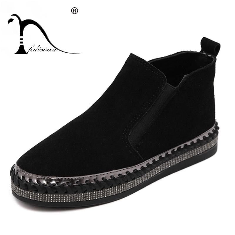 Висока якість Натуральна шкіра Плоский Мартін Ботильони Осінь взуття Жіноча Rhinestone Trim Жінка Зимова Корова шкіра Boot взуття  t