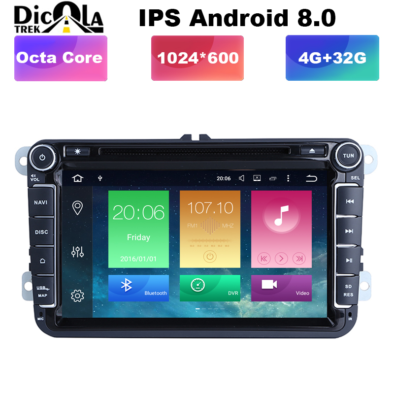 2 din Android 8 0 Octa Core 4GB RAM Car DVD for VW Passat CC Polo
