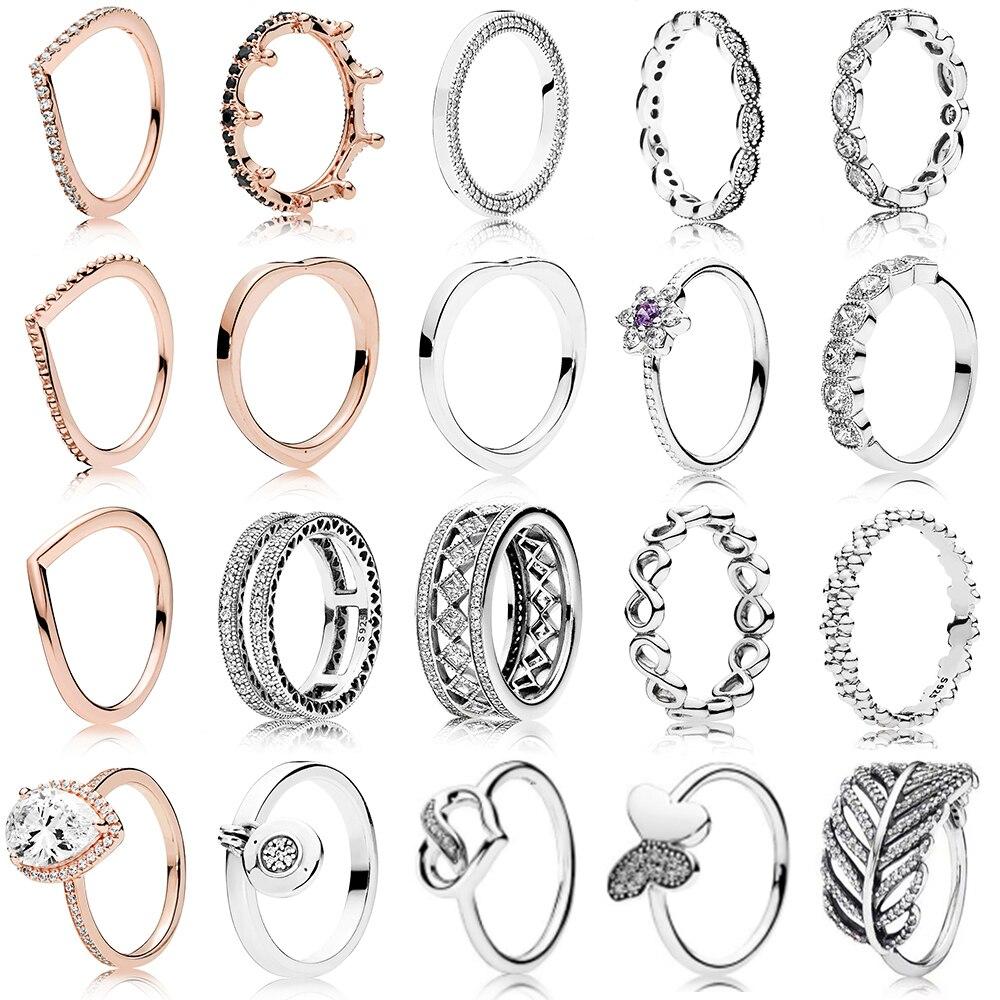 20 Stil 100% 925 Sterling Silber Ring Charme Prinzessin Crown Blume Herz Silber Charme Finger Ring Für Frauen Schmuck Geschenk