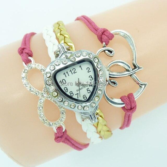 4f3a55f374fd Estilo bohemio para mujer reloj DIY infinito rosa pulsera de cera cuerda  estilo relojes grandes dos