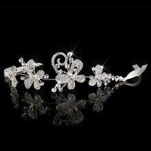 Women Headbands Crystal Bridal Butterfly Waterdrop Combs Hairpin Tiaras And Crown Wedding Jewelry Hair Accessories Hoop Ribbon