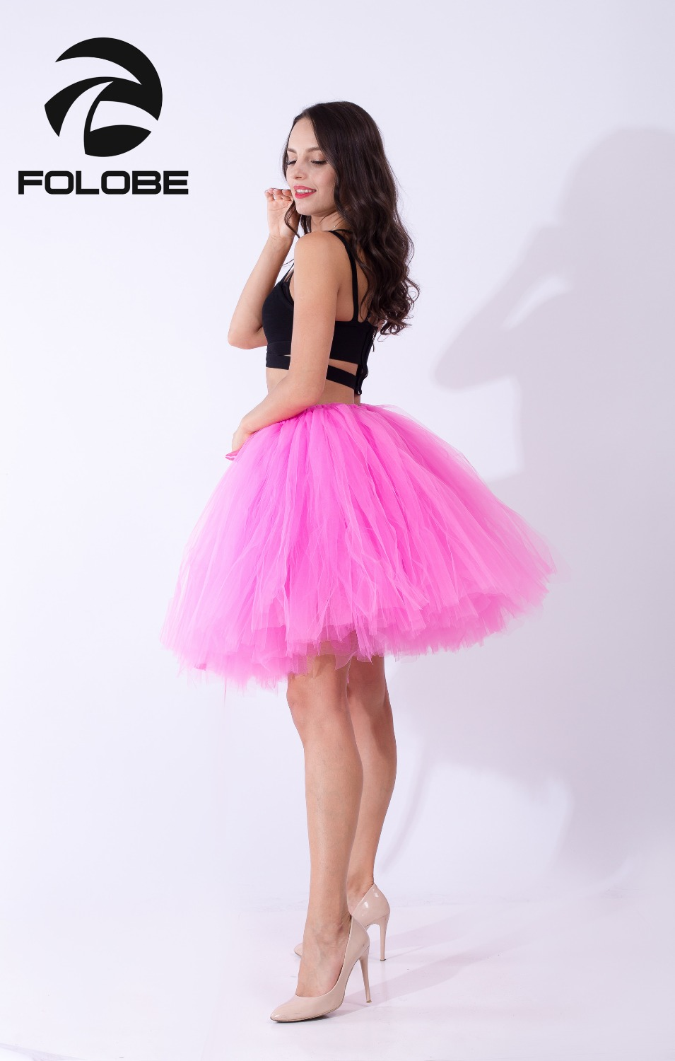 5af75ecbfd FOLOBE Hot Pink Handmade Midi Tulle Skirt Casual Tutu Skirts Women Ball  Gown Party Petticoat 2017 faldas saia jupe-in Skirts from Women's Clothing  on ...