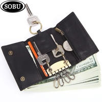 Leather key case Multi function three fold coin purse First layer leather car key case