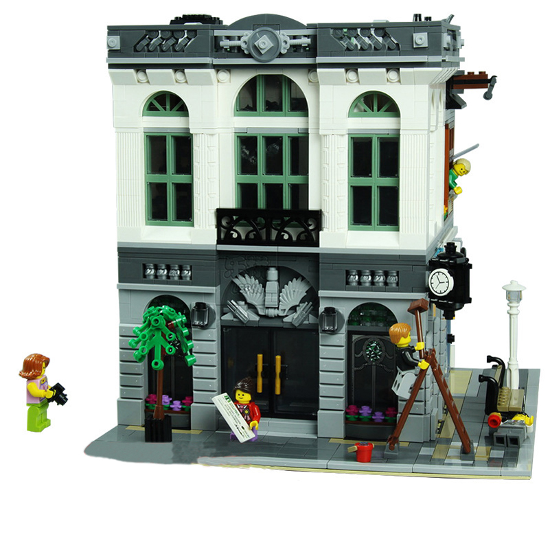Lepin 15001 Street Series Building Blocks Figure Bank Model Architecture 2413pcs Bricks Toys Christmas Gifts For Children compatible legoed lepin 15001 city street bank model building kits blocks bricks kits education toys for children gifts 10251