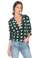 2 colors NEW EQ 100 silk polka dot print ladies long sleeve notched blouses women shirt