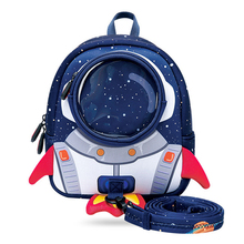 Anti-lost 3D Cartoon Rocket Children Backpack Kids Girls Boys School Bags Neoprene Toddler Baby Kindergarten Bag Space Capsule rainbow baby 3d model shark kids baby bags waterproof wear resistan with anti lost rope boys girls child s school bags backpack