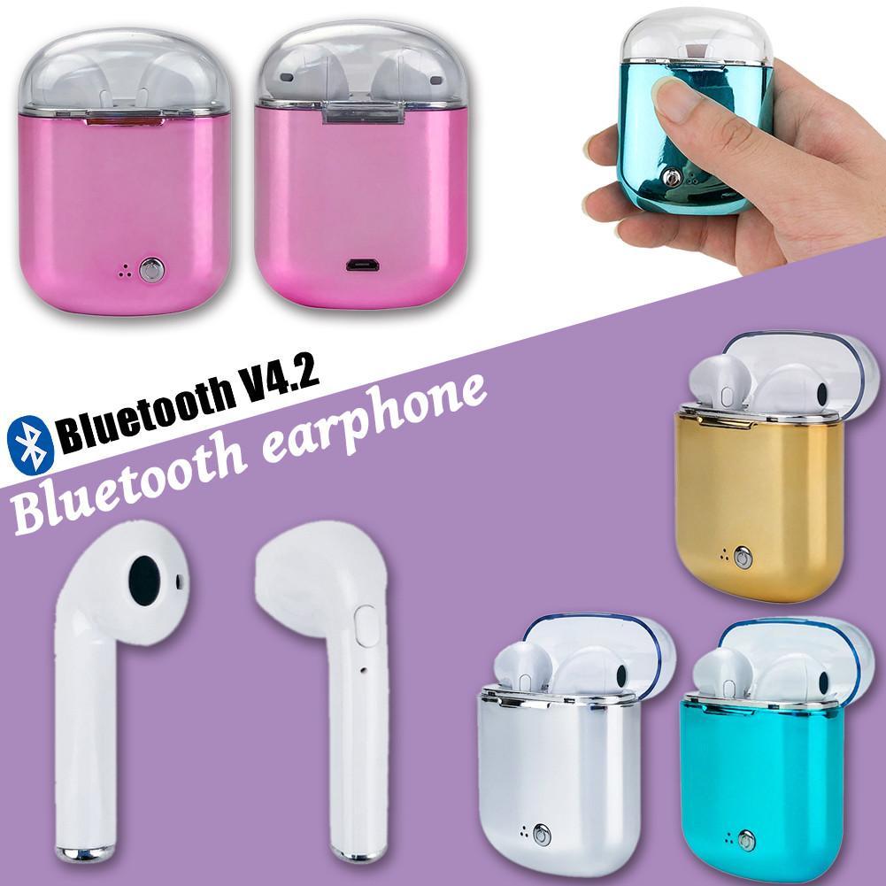 2018 Nieuwe I7s Oortelefoon Binaural Draadloze Bluetooth Headset TWS Oortelefoon met Opladen Bin Plating Hoofdtelefoon voor I7s Plus