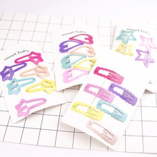 6pcs/Set New Cartoon Printing Girl Hairpin BB Snap Hair Clips Little Candy Color Fashion Handmade Accessories
