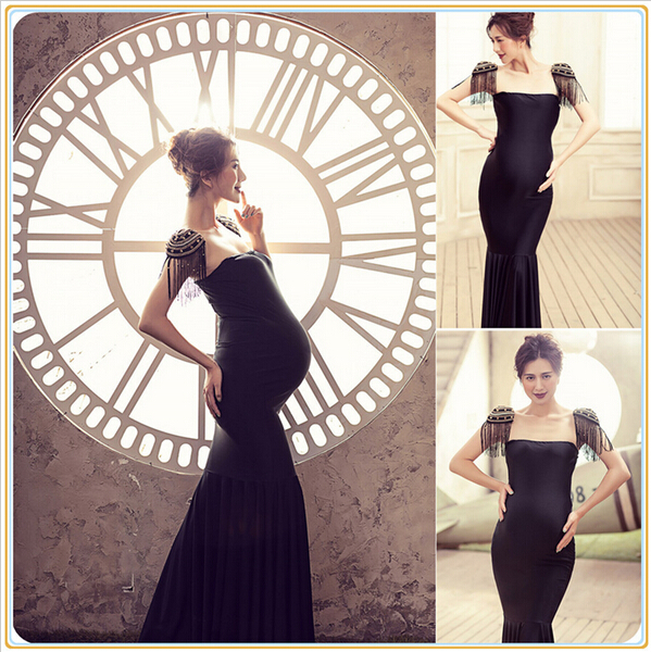 Royal Style Black Maternity Lace Dress Pregnant Photography Props Fancy Pregnancy maternity photo shoot long dress Nightdress стоимость