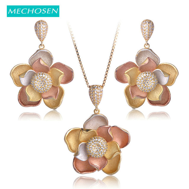 8d32101dfd2dd US $31.07 25% OFF|MECHOSEN 3 Layers Flower Shape Difficult Craft Jewelry  Sets Necklace Earrings 3 tones Women Gorgeous Banquet Accessories-in  Jewelry ...