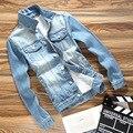 2016 Outono Nova Moda Denim Jacket Men Slim Fit Cor Azul Tamanho M Para 3xl Jaqueta Jeans Casual Roupas de Marca Frete Grátis