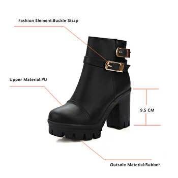 VINLLE 2018 Women Winter Buckle Punk Shoes Autumn PU Leather Square High Heel Ankle Boots Women Fashion Platform Boot Size 34-43