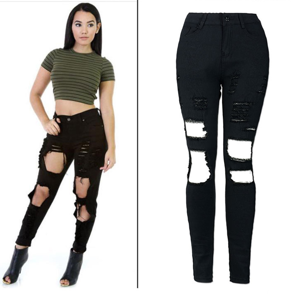 Fashion Casual Women Brand Vintage Mid Waist Skinny Denim Jeans Slim Ripped Pencil Jeans Hole Pants Female Sexy Girls Trousers
