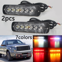 2PCS Car Styling 12V 6 Led Strobe Warning Light Amber Red Blue Strobe Grille Flashing Lightbar