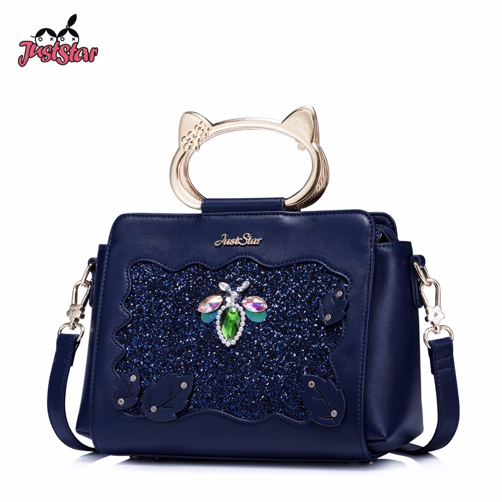 JUST STAR Women's  PU Leather Handbags Ladies Cartoon Beading Shoulder Tote Purse Female Cat Handle Leaves Rivet Messenger Bags just star women s pu leather handbag ladies cartoon cat embroidery tote shoulder purse female leisure messenger bags jz4492