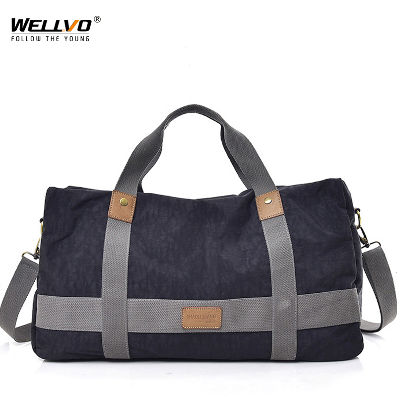 Men Travel Duffle Solid Crossbody Luggage Bag Unisex Portable Canvas Handbag Large Multifunctional Shoulder Bag For Male XA244WC