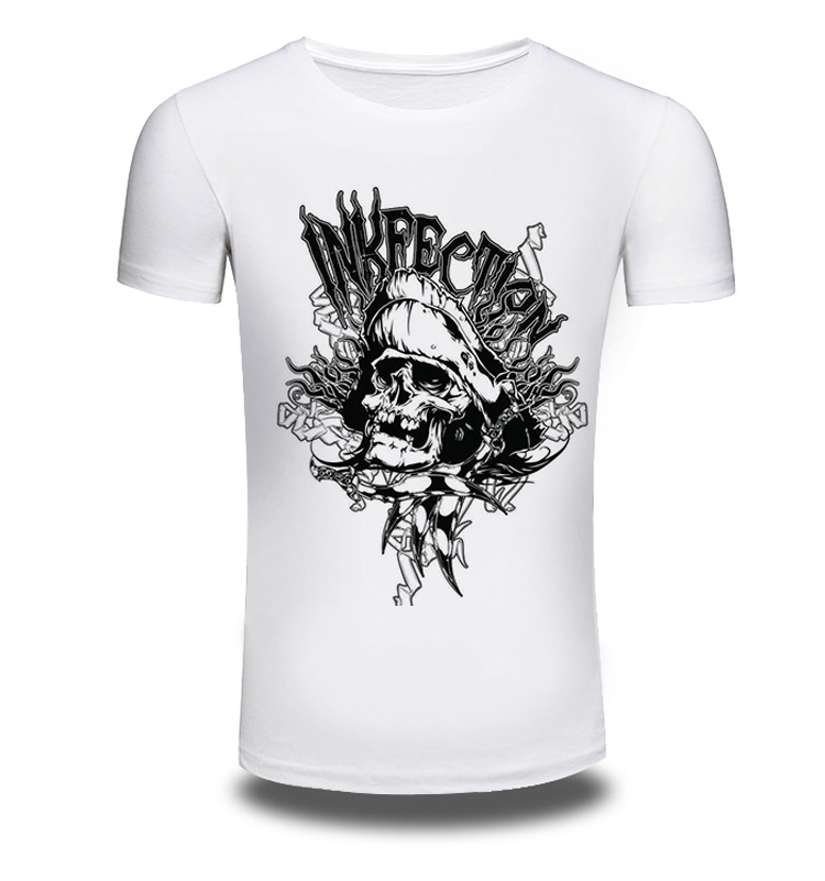 Men/Women Summer Fashion Short Sleeve Brand Clothing T Shirt 3D Print Shirt T-shirt Animal White Skeleton T-shirts Tee AW196