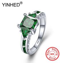 YINHED 100 925 Sterling Silver biżuteria pierścień plac Cut zielony cyrkonia pierścionek zaręczynowy obrączki dla kobiet rozmiar 5- 11 ZR534 tanie tanio Moda Pierścionki TRENDY Geometryczne Zaręczyny dm137 Zespoły weselne Fitness tracker Kobiety Prong ustawianie Wszystko kompatybilny