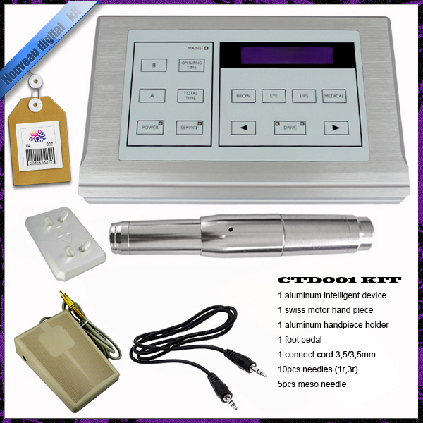 2017 Top Quality Professional Permanent Makeup Machine Kit Eyebrow Lip Eyeliner tattoo kit Machine 10 Needle ink cup gift Hot