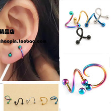 Male Jewelry Stainless steel titanium steel S shaped SBR earring spiral ear nail eyebrow nail unisex single stud earring gold
