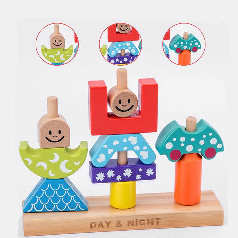 Eğitici Ahşap Oyuncak Güneş ve Ay Gündüz & Gece Sütun Blokları Erken Öğrenme Bebek Çocuk Doğum Günü noel hediyesi