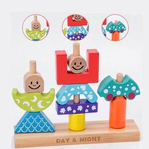 Image 2 - Pädagogisches Holz Spielzeug Sonne & Mond Tag & Nacht Säule Blöcke Frühe Lernen Baby Kinder Geburtstag Weihnachten Geschenk