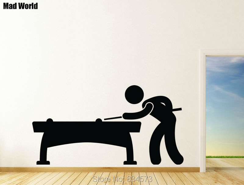 Mad World Playing Pool Table Silhouette Wall Art Stickers Wall Decal Home  DIY Decoration Removable Room Decor Wall Stickers 57x107cm