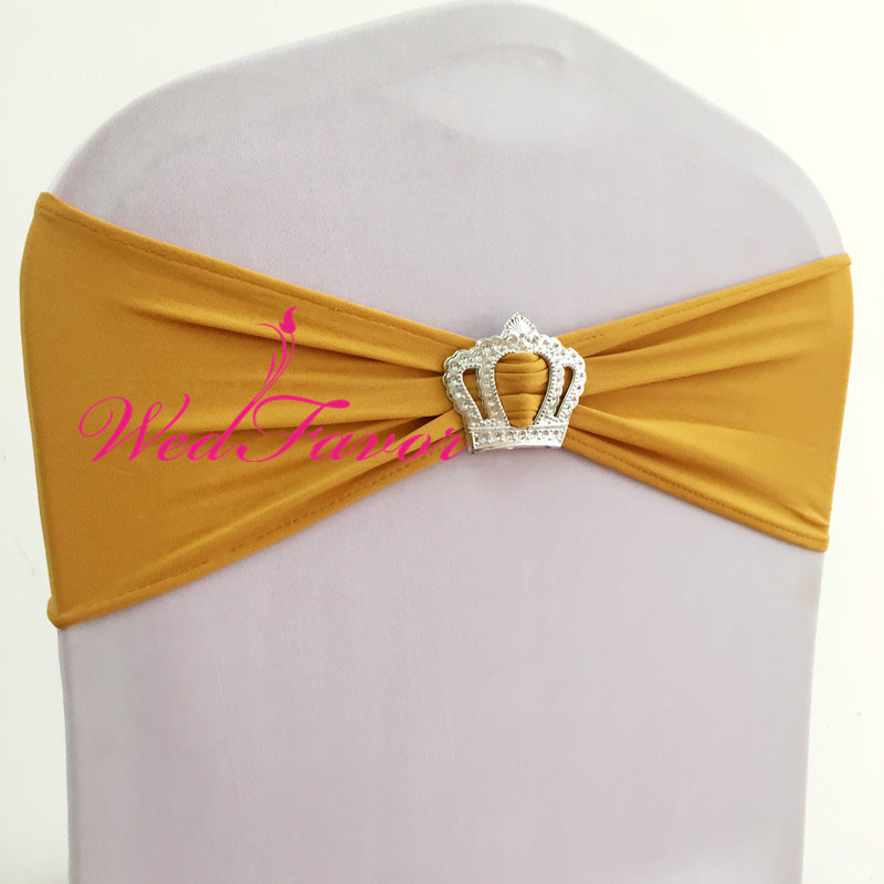 100pcs Wedding Lycra Stretch Chair Band Elastic Spandex Chair Sash Bow With Crown Buckle For Hotel