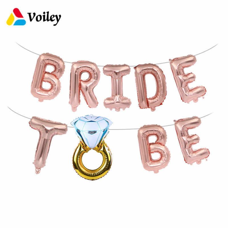 98d7d46271225 Wedding Bridal Shower 16inch Gold Silver Bride To Be Letter Foil Balloons  Decoration Diamond Ring Balloon for Hen Party Favors,Q
