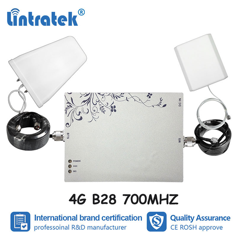 Lintratek 75dB Gain LTE B28 700MHz Repeater Mobile Phone Signal Amplifier 4G Internet Voice Cell Phone Repetidor 4G Antenna S4