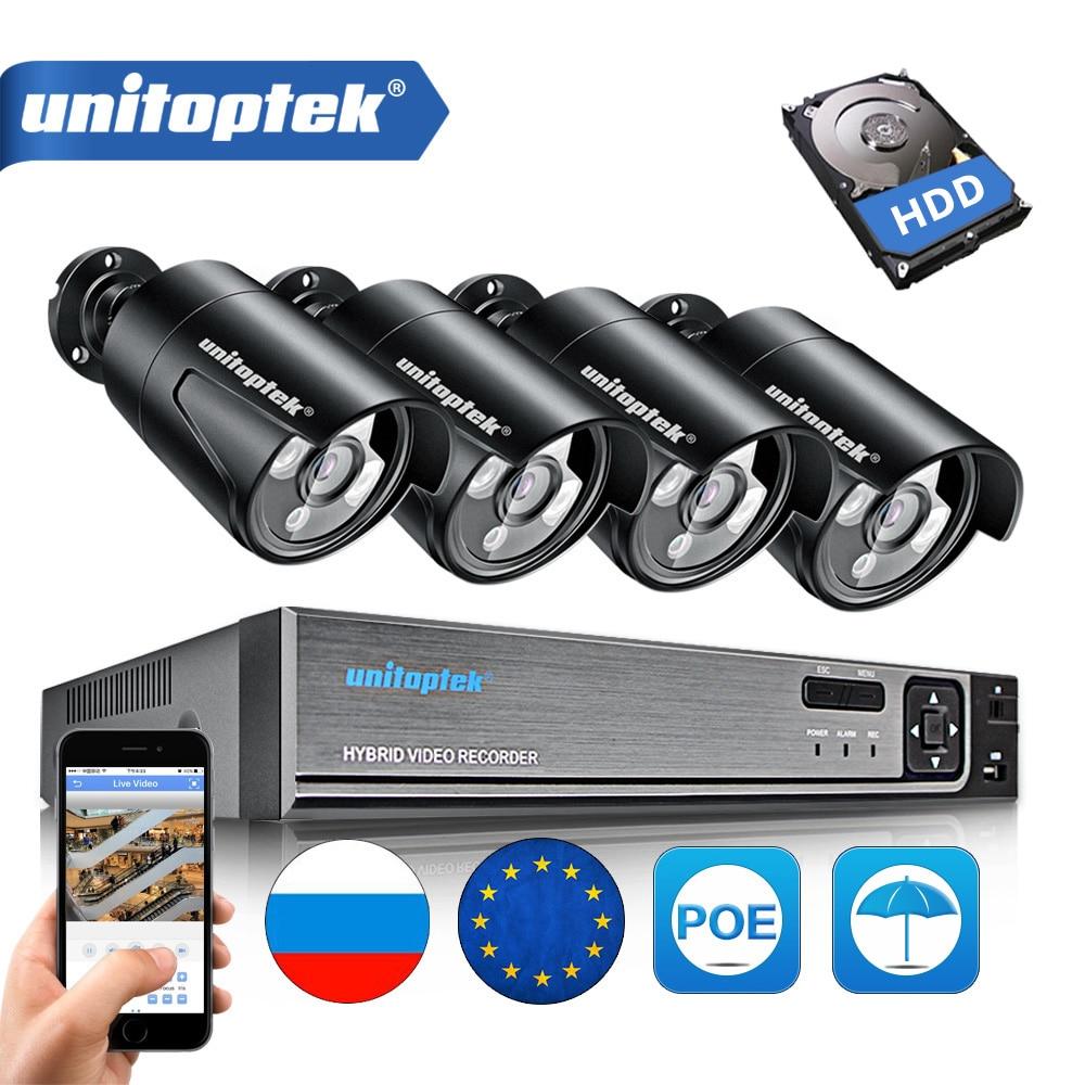 HD 1080 P 2MP/4MP 4CH Bullet Caméra Extérieure Avec POE CCTV NVR Système Étanche de Vision Nocturne IR 20 M Caméra de Sécurité Kit XMEye