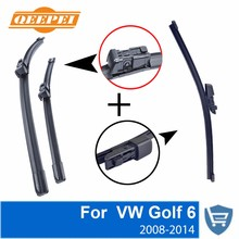 QEEPEI Front and Rear Wiper Blade no Arm For VW Golf 6 2008-2014 High quality Natural Rubber windscreen 24+19