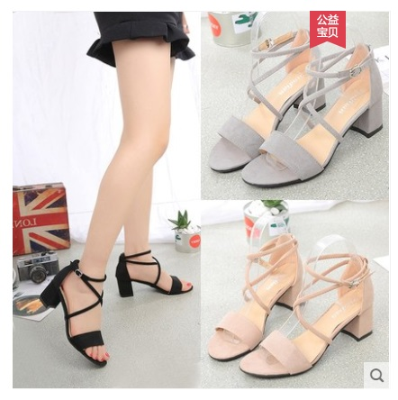 2019NEW Summer New High Heels Women's Shoes With Open Toe Suede Sexy Word Buckle Women Sandals Rome Shoes 35-40