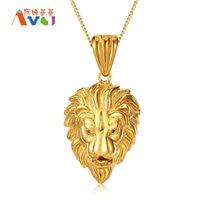 6 Colors Lion Head Pendant Necklace Punk Titanium Steel Men Biker Jewelry Animal Lion King Necklace