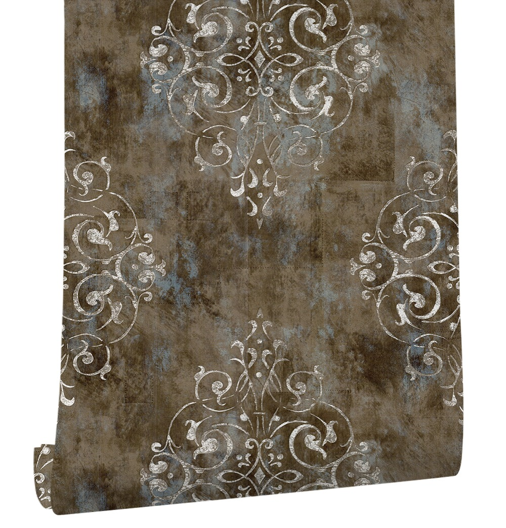 HaokHome Vintage French Damask Wallpaper 0 53m 10m Floral Contact paper Brown Beige Living Room Bedroom