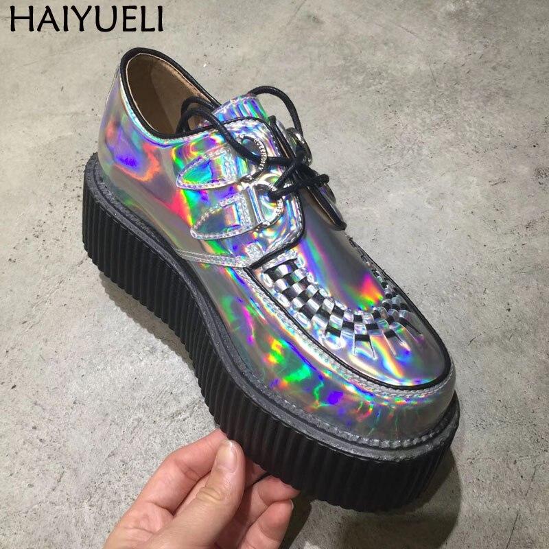 Argent chaussures de Harajuku Classique à lacets Haute Plate-Forme Creepers Mode Harajuku chaussures montantes Femmes de chaussures décontractées mocassins femme