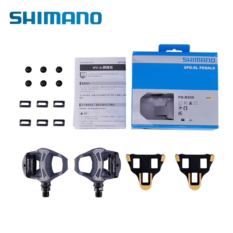 SHIMANO Cycling Bicycle PD-R550 SPD-SL MTB Mountain Road Bike Clipless Self-locking Pedal With Cleats SM-SH11 Bike Bicycle Parts shimano pd m545 spd bicycle cycling pedal mtb mountain xc clipless bike incl sm sh51 cleats mountain bike pedals