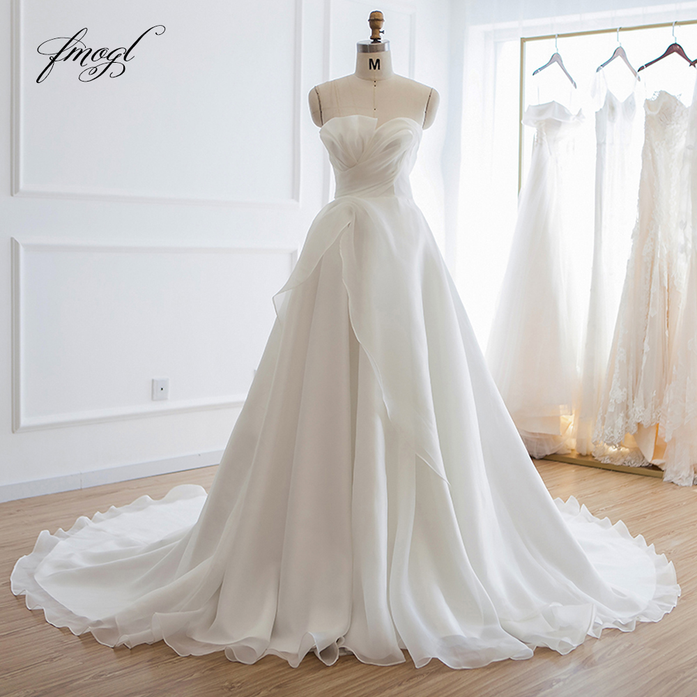 Backless Wedding Dresses 2019: Fmogl Sexy Backless Strapless A Line Pleat Wedding Dresses