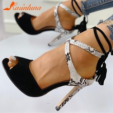 KARINLUNA New Big Size 32-43 Ladies High Heels Snake Veins Fringe Shoes Woman Casual Party Ol Sexy Evening Summer Sandals 2019 karinluna 2018 large size 31 43 sexy bling upper women shoes woman fashion high heels platform party summer sandals shoes