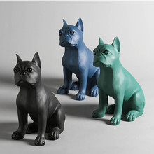 resin Cartoon French Bulldog dog statue home decor crafts room decoration objects vintage dog ornament resin animal figurines