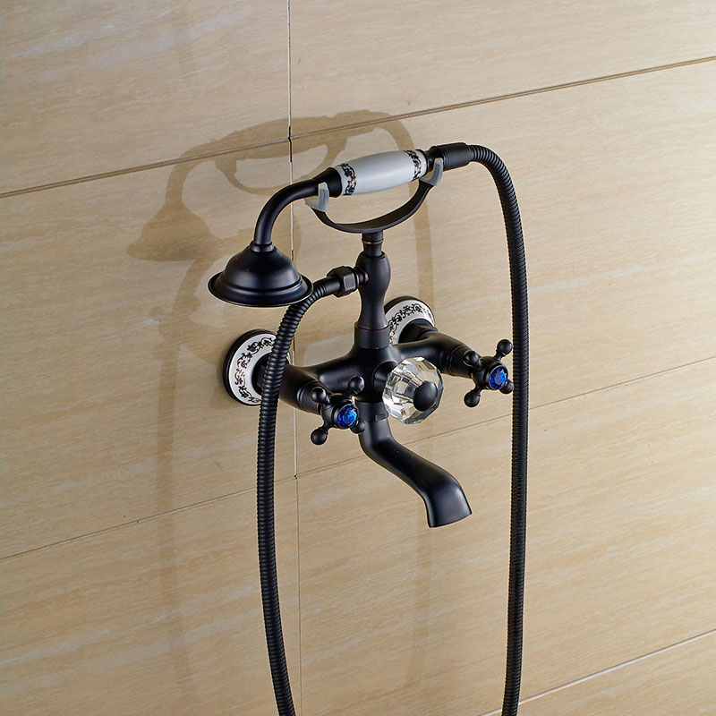 Blackened Finish Bath & Shower Faucet Telephone Style Dual Handle Tub Mixer Faucet Wall Mounted