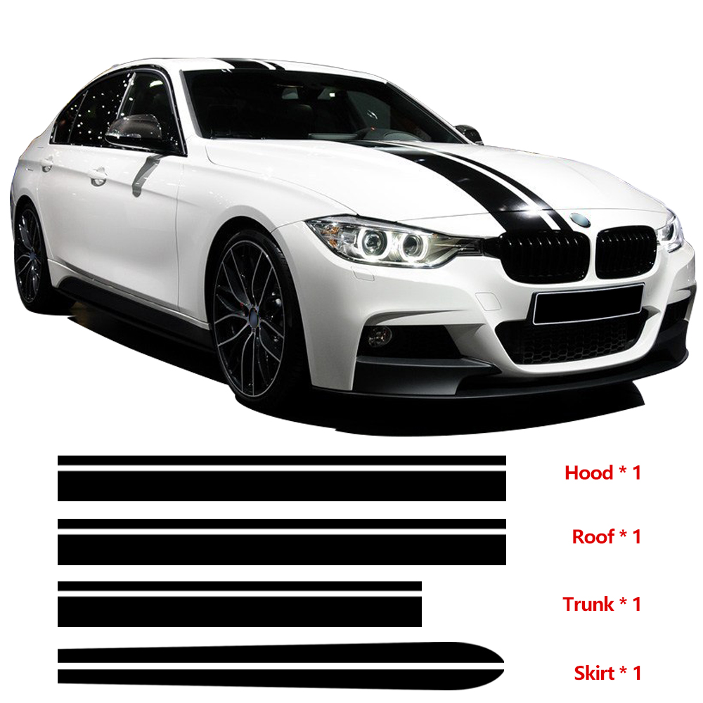 Hood Roof Trunk Bonnet Side Skirt Stripe Kit Vinyl Decal Car Stickers Cover For BMW F30