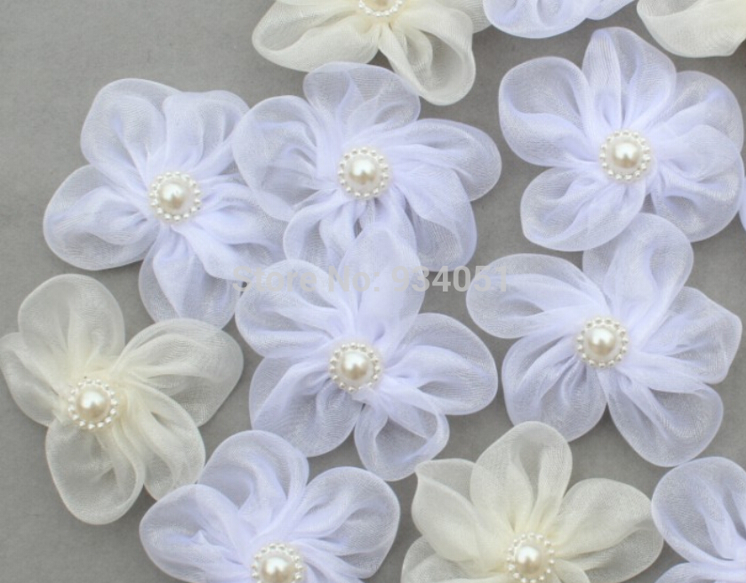50pcs Handmade White Ivory Bridal Organza Flowers With Pearl Flower
