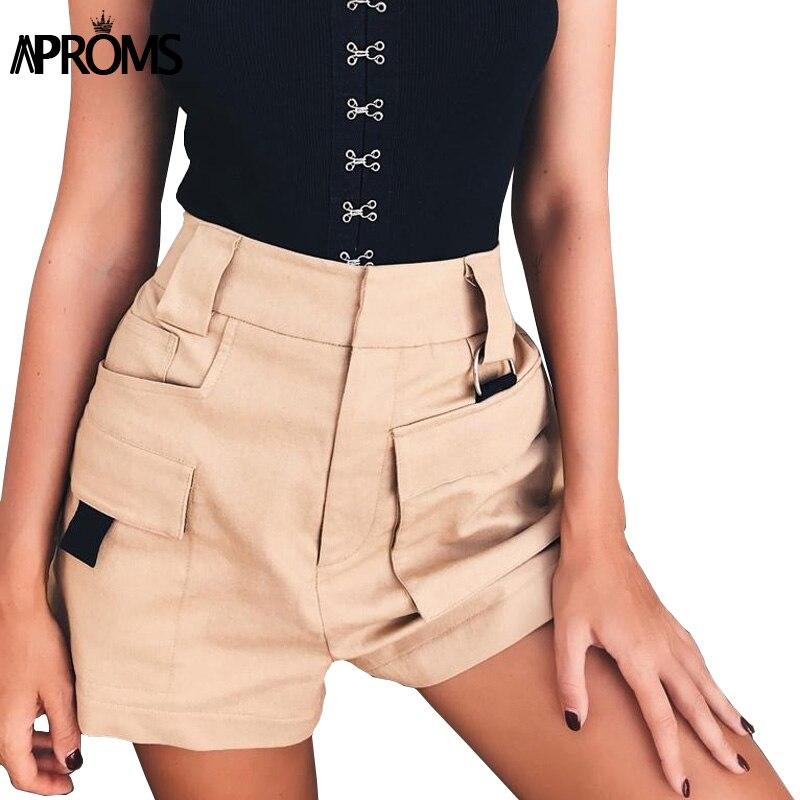 Aproms Women Elastic High Waist   Shorts   2019 Bottom Casual Khaki   Shorts   Beach Streetwear Summer Multi Pockets   Shorts   Femme