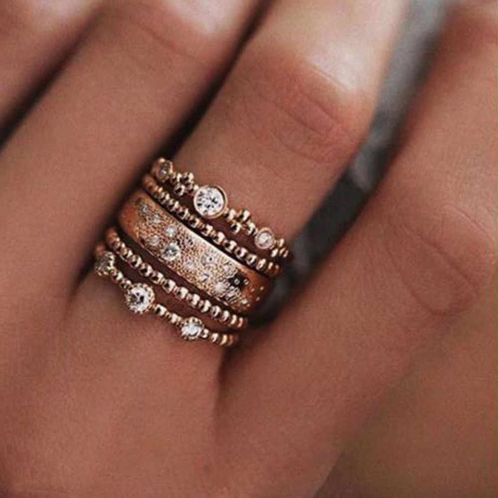 5pcs/lot Punk Style Rose Gold Stackable Ring Midi Finger Knuckle Rings Sparkly Boho Crystal Band Ring Set for Women Jewelry Gift
