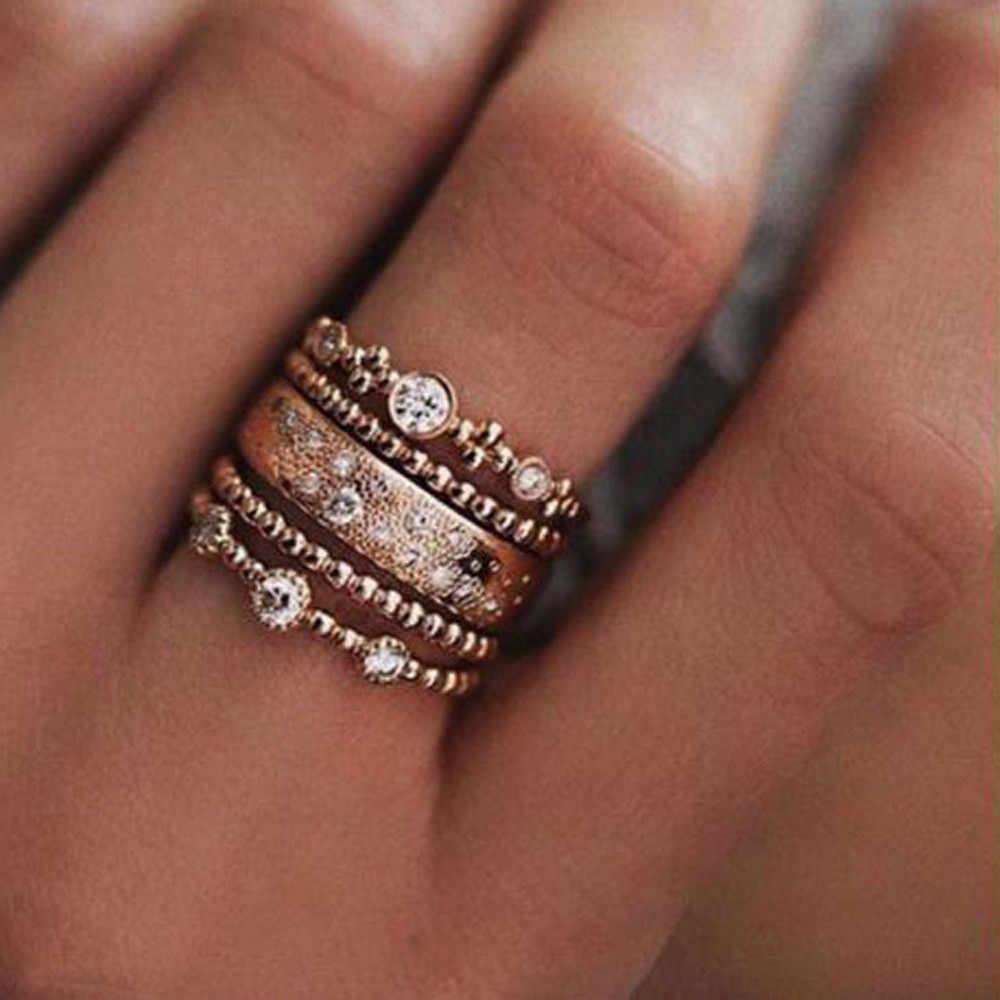 5 ชิ้น/ล็อต Punk สไตล์ Rose Gold แหวน Midi Finger Knuckle แหวน Sparkly Boho คริสตัลชุดแหวนสำหรับผู้หญิงเครื่องประดับของขวัญ