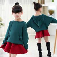 Crianças camisola meninas suéteres roupas infantil menina com capuz de malha topos moda batwing-mangas compridas camisola do bebê pulôver de malha